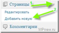Создаем страницу в WordPress