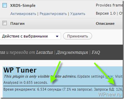 Плагин WP Tuner: оптимизируем блог, убираем кривые плагины