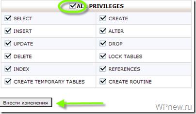 Как дать все привелегии пользователю в базе данных