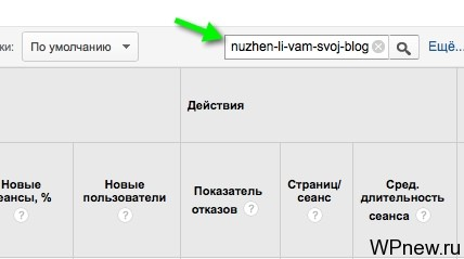 Поиск страницы в Google Analytics