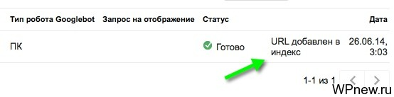 URL добавлен в индекс