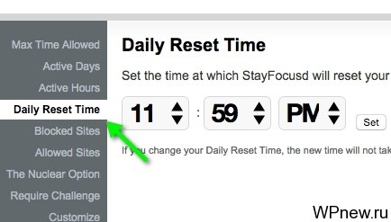 Daily Reset Time