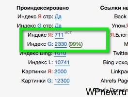 Сравнение индекса в поисковиках