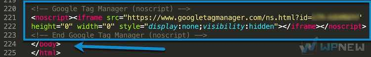 Код GTM в футер